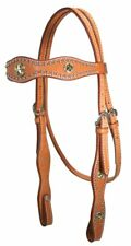 Caballero Headstall with Silver & Gold Star Conchos Full Horse Size