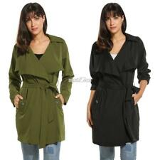 Women Long Sleeve Solid Casual Wrap Belted Lightweight Trench Duster Coat RR6