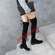 Womens Over The Knee Boots Side Zip Solid Blok Low Heel Suede Stretchy Shoes New
