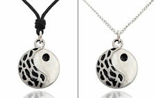 Ying Yang Feng Shui Silver Pewter Charm Necklace Pendant Jewelry
