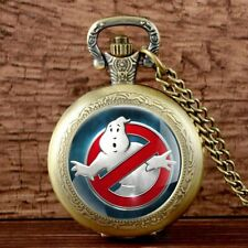 Antique Ghostbusters Locket Pocket Watch Quartz Pendant Necklace Chain Kids Gift