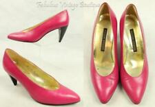 Vtg WALTER STEIGER Hand Made in Italy Hot Pink Leather RETRO Heels Pumps Shoes 8