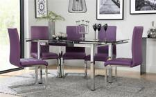 Space Chrome & Black Glass Extending Dining Table - with 4 6 Perth Purple Chairs