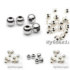 Real.925 Sterling Silver Round Seamed Spacer Beads 2/2.5/3/ 4/ 5/ 6/ 7/ 8mm USA