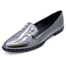 LADIES PEWTER PATENT SLIP-ON FLAT LOAFERS SMART CASUAL COMFY WORK SHOES UK 3-8