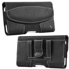 Leather Belt Clip Luxmo Pouch Holster Phone Holder Horizontal #19 Black
