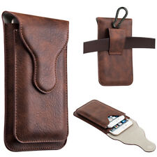 Luxmo Leather Belt Clip Pouch Holster Phone Holder Vertical Brown