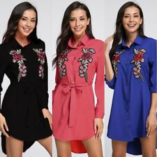 Summer Womens Vintage Long Sleeve Tunic Floral Loose Beach Casual Mini Dress