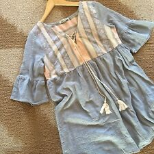 L New Anthropologie Embroidered Tassel Tie Flowy Tunic Blouse Top Women's LARGE