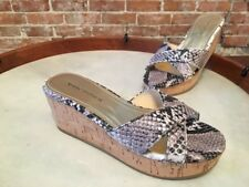 Marc Fisher Cilla Natural Snake Leather Cross Band Slide Wedge Sandal NEW