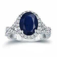 Auriya Platinum 2 1/2ct Oval-Cut Sapphire and 3/5ct TDW Diamond Halo Engagement