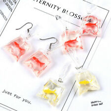 Novelty Women Girls Goldfish Water Bag Shape Dangle Hook Earrings Charm 1 Pair