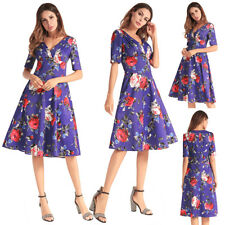 Spring Womens Ladies Holiday V Neck Floral Skater Ladies Beach Midi Party Dress