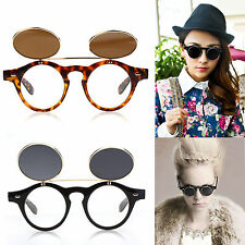Flip up circle Steampunk Glasses Goggles sunglasses Retro vintage cyber punk HT