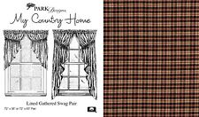 Lined Gathered Swags, My Country Home by Park Designs, 72x63, Black, Red & Tan