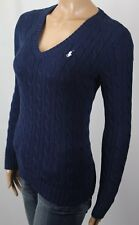 Ralph Lauren Navy Blue Cotton Cable Knit V-Neck Sweater White Pony NWT