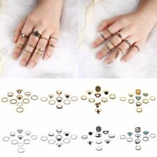 Fashion Boho Finger Knuckle Hollow Carved Feather Vintage Ring Set Jewelry Gift