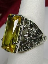 7ct Baguette *Yellow Citrine* Sterling Silver Leaf Filigree Ring {Made To Order}