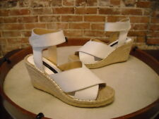 Kensie Narcisa White Leather Ankle Strap Espadrille Wedge Sandal NEW