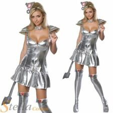 Ladies Sexy Tin Woman Wizard Of Oz Tinman Fancy Dress Costumes Halloween Outfit