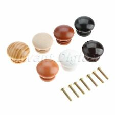 34*25mm Natural Wood Furniture Cabinet Knob Drawer Wardrobe Pulls Handles 5Pcs
