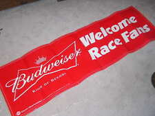 NEW NASCAR WELCOME RACE FANS BUDWEISER BANNER SIGN BEER MAN CAVE BUDWIESER
