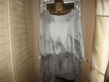 WOMEN'S MADE IN ITALY BROWN/CREAM MIX SILK BLEND FLOATY TUNIC LONG TOP 14-16 VGC