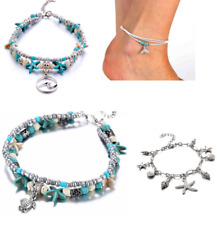 Boho Ankle Bracelet Silver Tone Women Fashion Beaded Adjustable Beach Anklet AD