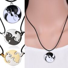 Lovely Cute Cat Couple Stainless Steel Women Men Necklaces Pendant Chain Jewelry