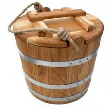 Pickle Barrel, Oak Bucket for Pickles with a Lid, Rustic Wooden Bucket, Farmhous