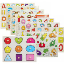 Baby Early Educational Hand Grasp Wooden Puzzle Alphabet Digit Animal Jigsaw Toy
