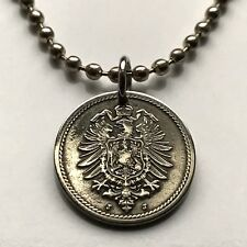 1870s Germany 5 Pfennig coin pendant crowned German eagle Deutschland n000919
