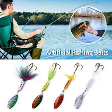 1Set Fishing Lures Sequins Spin Artificial Fishing Baits With Feather Hooks GIFT