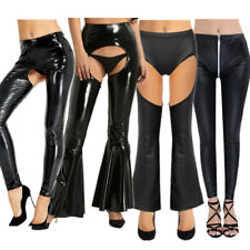 Women Leather High Waist Bell Flared Pants Hollow Out Legging Sexy Club Trousers