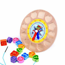 12 Colorful Wooden Early Educational Toys Geometry Clock Block Puzzle Montessori
