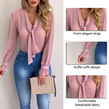 Women Bow Tie Neck Chiffon Long Sleeve Blouse Tops Casual Office Work Shirts 33