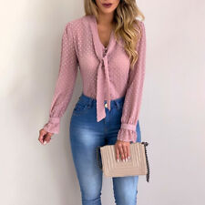 Women Bow Tie Neck Chiffon Long Sleeve Blouse Tops Casual Office Work Shirts GIF