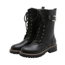 New Womens Lace Up Mid Calf Combat Boots Platform Buckle Strap Chunky Heel Shoes
