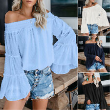 Elegant Women Off The Shoulder Tops Long Bell Sleeve Flared Casual Blouses Shirt