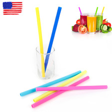 Drinking Straws Silicone Sturdy Straight Drinks Straw With Cleaning Brush US