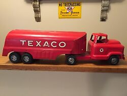 vintage red 1950s texaco tanker