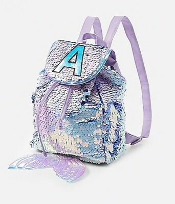 NWT Justice Girls Flip Sequin Mermaid Initial MINI Backpack   Rucksack! 1ac0d160d0afd