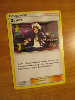LP Pokemon Non-Holo GUZMA Card BURNING SHADOWS Set 115/147 Trainer Supporter