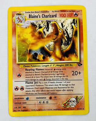 Pokemon Wotc Gym Challenge Blaines Charizard Unlimited Fighting Energy Error DMG