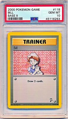 2000 Pokemon Base Set 2 Bill Trainer #118/130 PSA 10 - POP 6