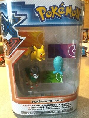New Pokemon XY Basic Gogoat, Wobbuffet & Pikachu Figure 3-Pack