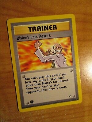 LP(1st edition)Pokemon BLAINE'S LAST RESORT Card GYM HEROES Set 105/132 First Ed