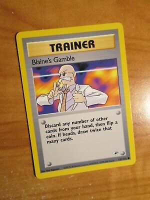 PL(Unlimited) Pokemon BLAINE'S GAMBLE Card GYM HEROES Set 121/132 Trainer PLAYED