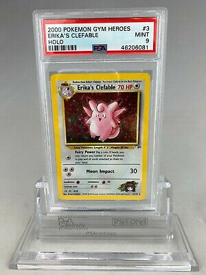 PSA 9 Pokemon Erika's Clefable Holo Gym Heroes Unlimited