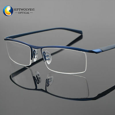 2778dab529 Men s Half Rimless Titanium Eyeglass Frame Spectacles Glasses Optical  Eyewear Rx